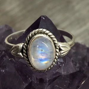 Dainty rainbow moonstone sliver stamp ring 925
